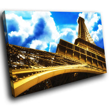 SC046 Framed Canvas Print Colourful Modern Scenic Wall Art - Eiffel Tower Paris Blue Cool-Canvas Print-WhatsOnYourWall