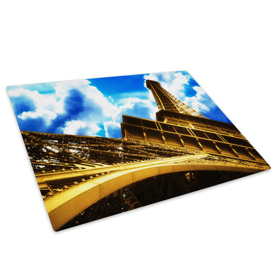 Eiffel Tower Paris Blue Glass Chopping Board Kitchen Worktop Saver Protector - C046-Scenic Chopping Board-WhatsOnYourWall