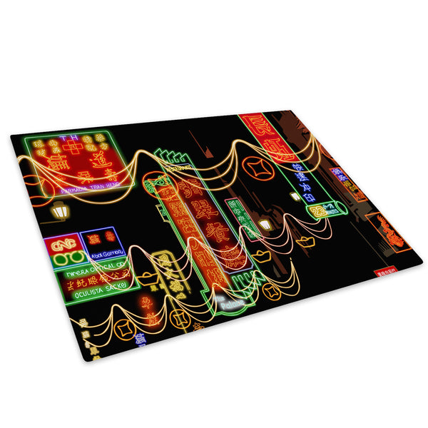 Colourful Chinese Words Glass Chopping Board Kitchen Worktop Saver Protector - C047-Scenic Chopping Board-WhatsOnYourWall