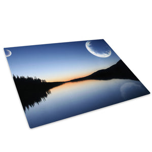 Blue White Black Sunset Glass Chopping Board Kitchen Worktop Saver Protector - C050-Scenic Chopping Board-WhatsOnYourWall