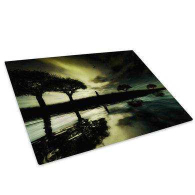 Black Green Yellow Tree Glass Chopping Board Kitchen Worktop Saver Protector - C051-Scenic Chopping Board-WhatsOnYourWall