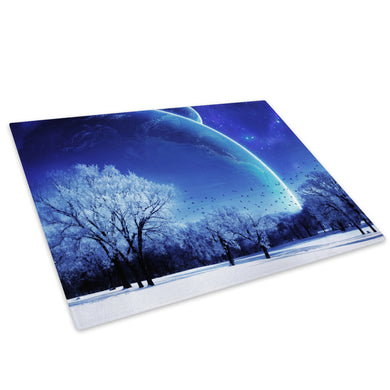 Blue White Snow Trees Stars Glass Chopping Board Kitchen Worktop Saver Protector - C052-Scenic Chopping Board-WhatsOnYourWall