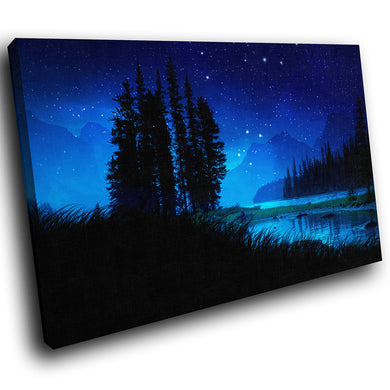 SC055 Framed Canvas Print Colourful Modern Scenic Wall Art - Retro Blue Black White Stars-Canvas Print-WhatsOnYourWall