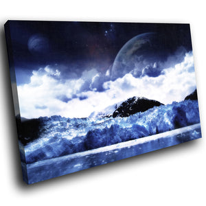 SC058 Framed Canvas Print Colourful Modern Scenic Wall Art - Blue Black White Cool Nature-Canvas Print-WhatsOnYourWall