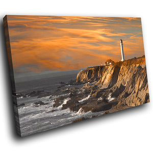 SC061 Framed Canvas Print Colourful Modern Scenic Wall Art - Brown Orange Grey Beach Retro-Canvas Print-WhatsOnYourWall