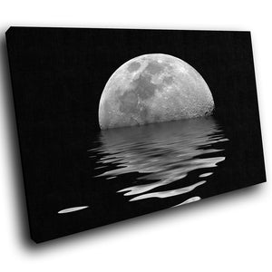 SC064 Framed Canvas Print Colourful Modern Scenic Wall Art - Black White Ocean Moon Cool - WhatsOnYourWall