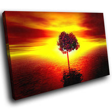 SC065 Framed Canvas Print Colourful Modern Scenic Wall Art - Orange Red Black Tree Sunset-Canvas Print-WhatsOnYourWall