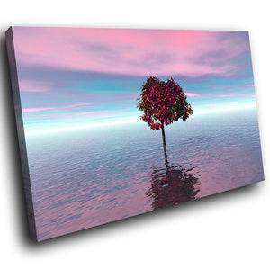SC066 Framed Canvas Print Colourful Modern Scenic Wall Art - Pink Blue White Tree Nature-Canvas Print-WhatsOnYourWall