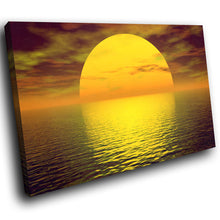 SC067 Framed Canvas Print Colourful Modern Scenic Wall Art - Yellow Ocean Sunset Nature-Canvas Print-WhatsOnYourWall