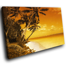 SC069 Framed Canvas Print Colourful Modern Scenic Wall Art - Retro Brown Yellow Beach Funky-Canvas Print-WhatsOnYourWall