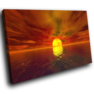 SC072 Framed Canvas Print Colourful Modern Scenic Wall Art - Retro Orange Red Yellow Sunset-Canvas Print-WhatsOnYourWall