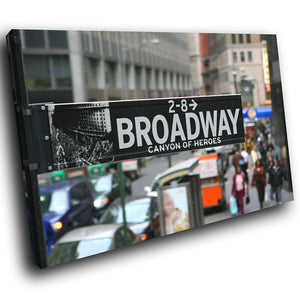 SC074 Framed Canvas Print Colourful Modern Scenic Wall Art - Broadway New York Black White - WhatsOnYourWall