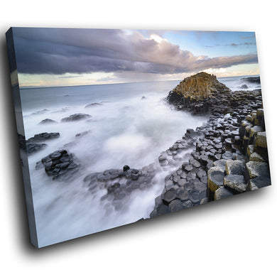SC1000 Framed Canvas Print Colourful Modern Scenic Wall Art - Giants Causeway Ireland Nature