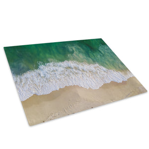 Beach Green Blue Waves Glass Chopping Board Kitchen Worktop Saver Protector - C1001-Scenic Chopping Board-WhatsOnYourWall