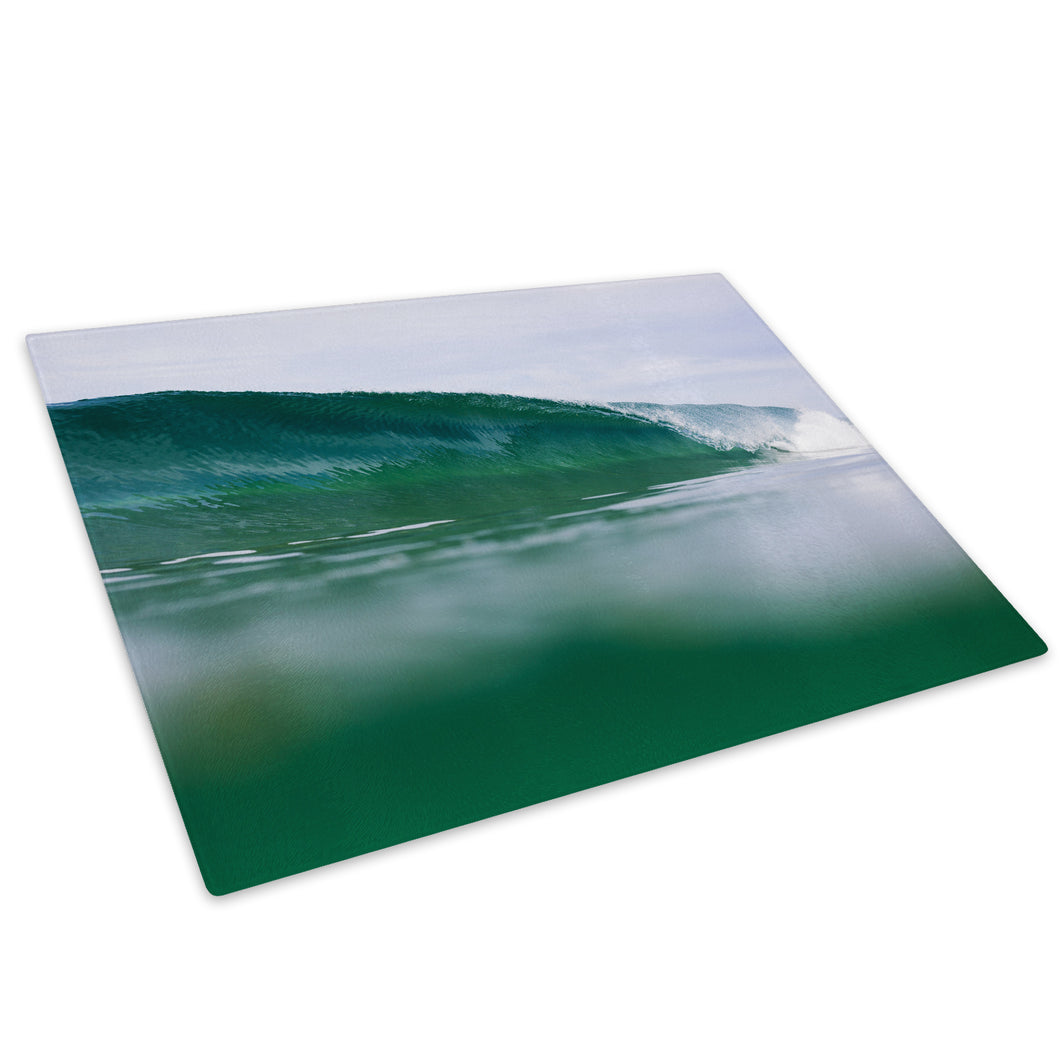Blue Green White Wave Glass Chopping Board Kitchen Worktop Saver Protector - C1007-Scenic Chopping Board-WhatsOnYourWall