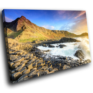 SC1009 Framed Canvas Print Colourful Modern Scenic Wall Art - Giants Causeway Ireland Nature
