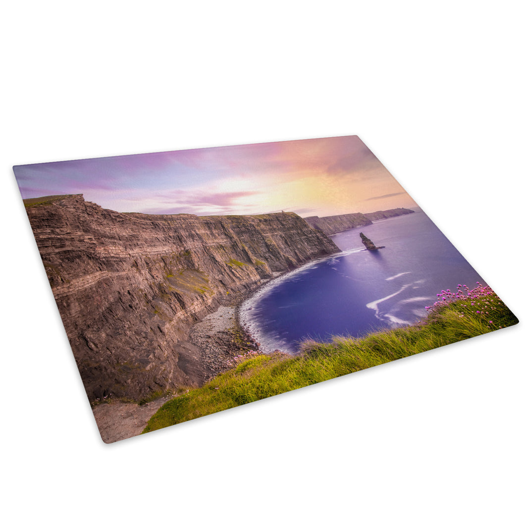 Colourful Sea Cliff Ireland Glass Chopping Board Kitchen Worktop Saver Protector - C1011-Scenic Chopping Board-WhatsOnYourWall