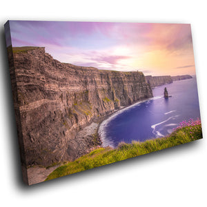 SC1011 Framed Canvas Print Colourful Modern Scenic Wall Art - Colourful Sea Cliff Ireland