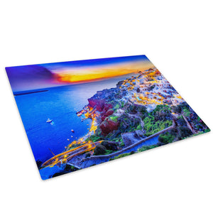 Colourful Seaside Sunset Glass Chopping Board Kitchen Worktop Saver Protector - C1014-Scenic Chopping Board-WhatsOnYourWall