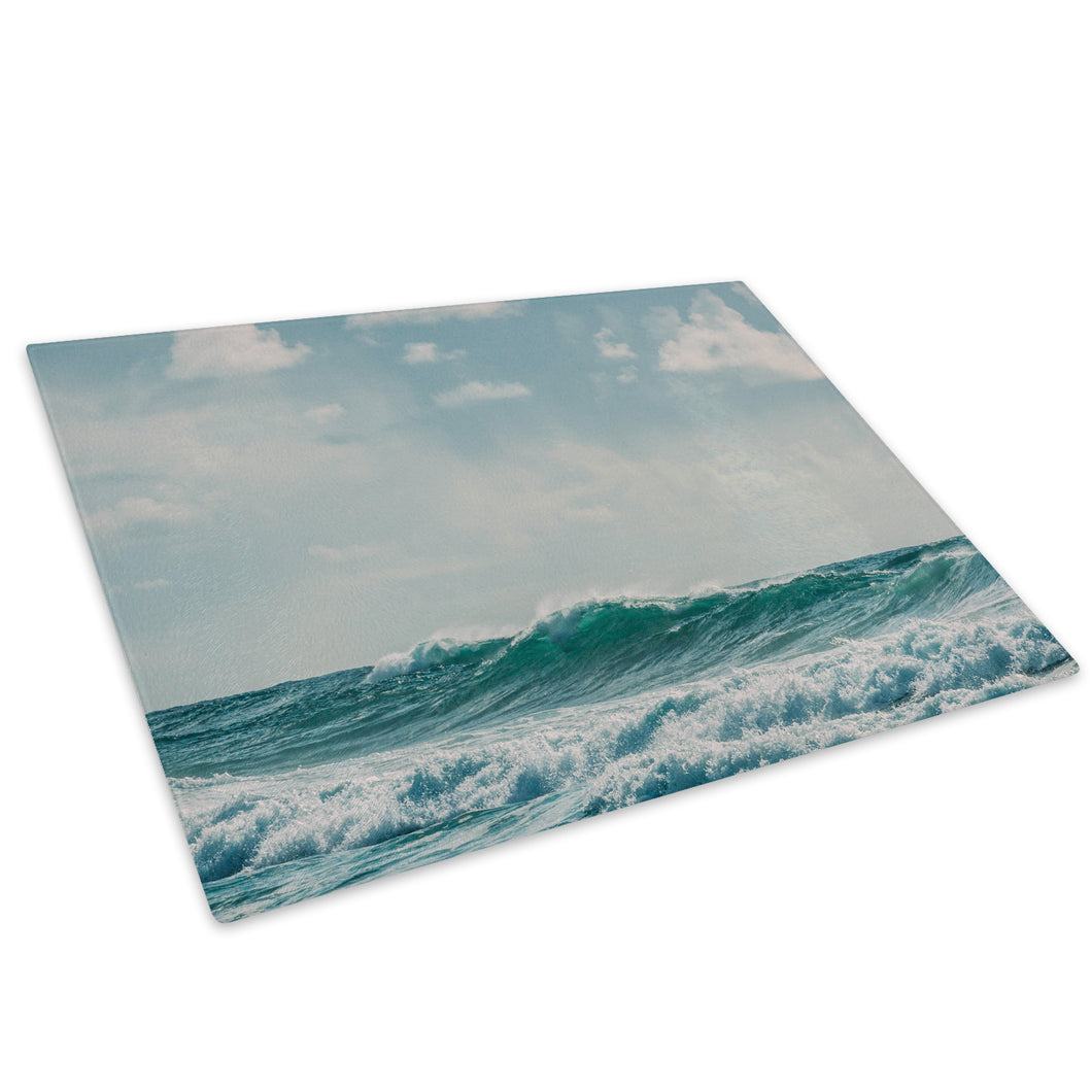 Blue Green White Wave Glass Chopping Board Kitchen Worktop Saver Protector - C1017-Scenic Chopping Board-WhatsOnYourWall