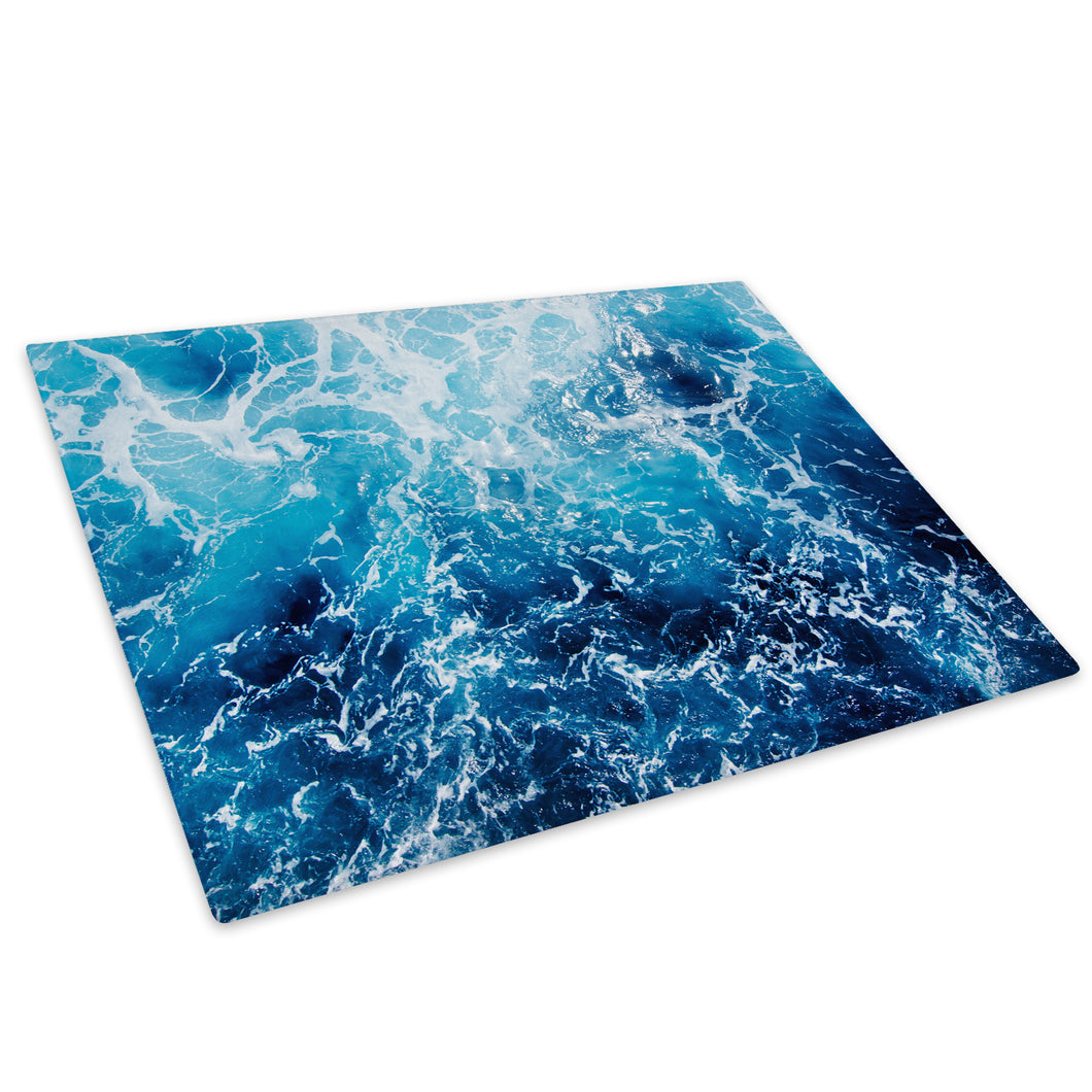 Blue White Black Ocean Glass Chopping Board Kitchen Worktop Saver Protector - C1018-Scenic Chopping Board-WhatsOnYourWall