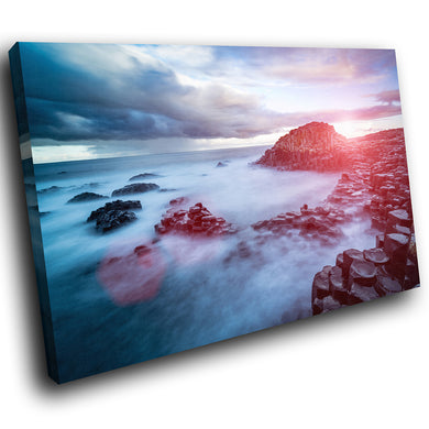 SC1020 Framed Canvas Print Colourful Modern Scenic Wall Art - Giants Causeway Ireland Nature