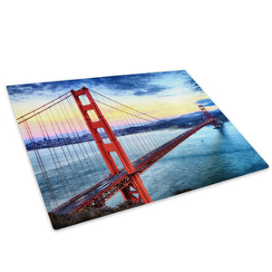 Golden Gate Bridge Retro Glass Chopping Board Kitchen Worktop Saver Protector - C1024-Scenic Chopping Board-WhatsOnYourWall