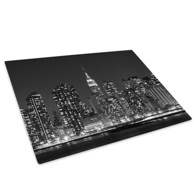 Black White New York Sky Glass Chopping Board Kitchen Worktop Saver Protector - C1025-Scenic Chopping Board-WhatsOnYourWall