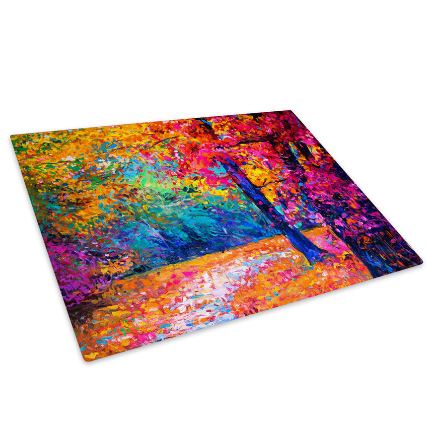 Colourful Autumn Trees Glass Chopping Board Kitchen Worktop Saver Protector - C1028-Scenic Chopping Board-WhatsOnYourWall