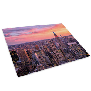 Pink Orange New York Sunset Glass Chopping Board Kitchen Worktop Saver Protector - C1029-Scenic Chopping Board-WhatsOnYourWall
