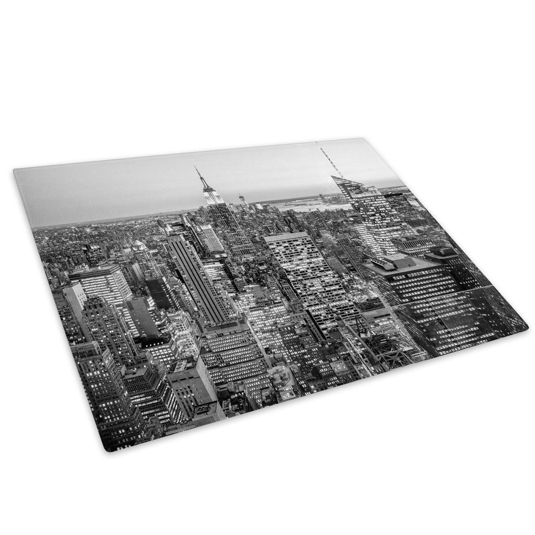 Black White New York Sky Glass Chopping Board Kitchen Worktop Saver Protector - C1032-Scenic Chopping Board-WhatsOnYourWall