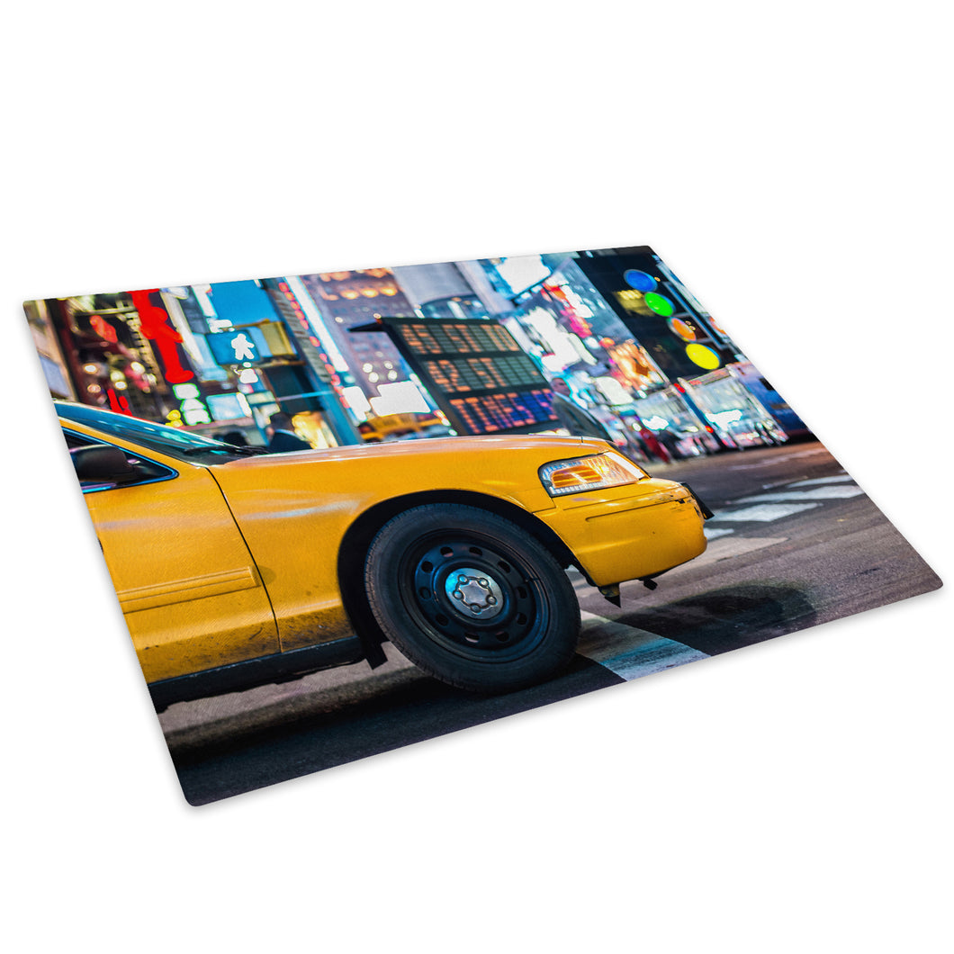 Yellow New York Taxi Cab Glass Chopping Board Kitchen Worktop Saver Protector - C1033-Scenic Chopping Board-WhatsOnYourWall