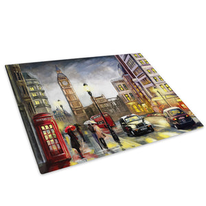 Colourful London Street Glass Chopping Board Kitchen Worktop Saver Protector - C1034-Scenic Chopping Board-WhatsOnYourWall