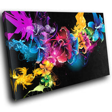 SC105 Framed Canvas Print Colourful Modern Scenic Wall Art - Colourful Abstract Flowers Cool-Canvas Print-WhatsOnYourWall