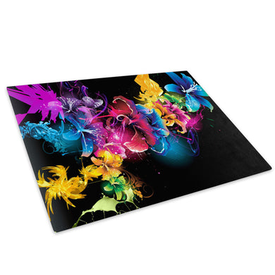 Pink Blue Green Floral Neon Glass Chopping Board Kitchen Worktop Saver Protector