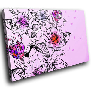 SC106 Framed Canvas Print Colourful Modern Scenic Wall Art - Pink Purple Red Black Flower-Canvas Print-WhatsOnYourWall