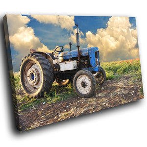 SC115 Framed Canvas Print Colourful Modern Scenic Wall Art - Retro Blue Green Tractor-Canvas Print-WhatsOnYourWall