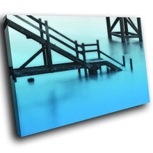 SC117 Framed Canvas Print Colourful Modern Scenic Wall Art - Blue Black White Cool Nature-Canvas Print-WhatsOnYourWall