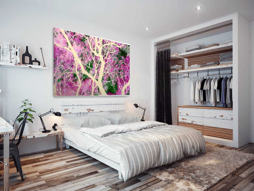 SC119 Framed Canvas Print Colourful Modern Scenic Wall Art - Colourful Abstract Tree Cool-Canvas Print-WhatsOnYourWall
