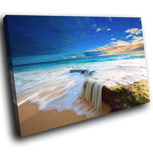 SC121 Framed Canvas Print Colourful Modern Scenic Wall Art - Blue White Green Beach Cool-Canvas Print-WhatsOnYourWall