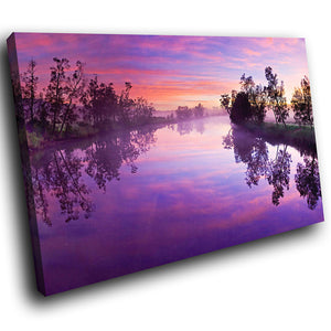 SC122 Framed Canvas Print Colourful Modern Scenic Wall Art - Purple River Sunset Nature-Canvas Print-WhatsOnYourWall