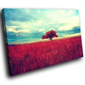 SC128 Framed Canvas Print Colourful Modern Scenic Wall Art - Red Blue Abstract Tree Cool-Canvas Print-WhatsOnYourWall