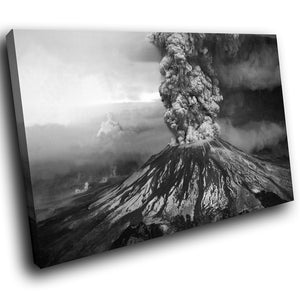 SC129 Framed Canvas Print Colourful Modern Scenic Wall Art - Black White Volcano Nature-Canvas Print-WhatsOnYourWall