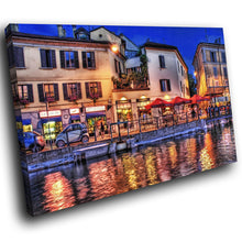 SC133 Framed Canvas Print Colourful Modern Scenic Wall Art - Colourful Venice City Cool-Canvas Print-WhatsOnYourWall