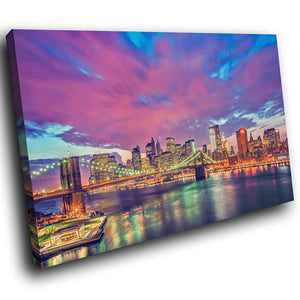 SC137 Framed Canvas Print Colourful Modern Scenic Wall Art - Colourful New York Sunrise-Canvas Print-WhatsOnYourWall