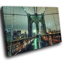 SC138 Framed Canvas Print Colourful Modern Scenic Wall Art - Brooklyn Bridge New York-Canvas Print-WhatsOnYourWall