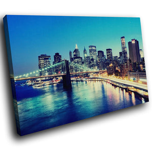 SC139 Framed Canvas Print Colourful Modern Scenic Wall Art - Colourful New York Sunrise-Canvas Print-WhatsOnYourWall