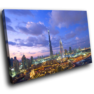 SC141 Framed Canvas Print Colourful Modern Scenic Wall Art - Colourful Dubai Sky Cool - WhatsOnYourWall