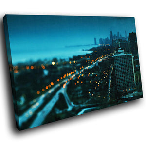 SC143 Framed Canvas Print Colourful Modern Scenic Wall Art - Blue Orange Retro City Cool-Canvas Print-WhatsOnYourWall