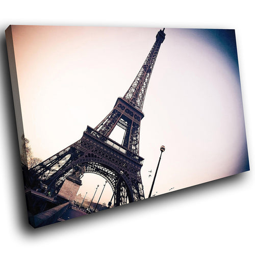 SC147 Framed Canvas Print Colourful Modern Scenic Wall Art - Eiffel Tower Paris Retro-Canvas Print-WhatsOnYourWall